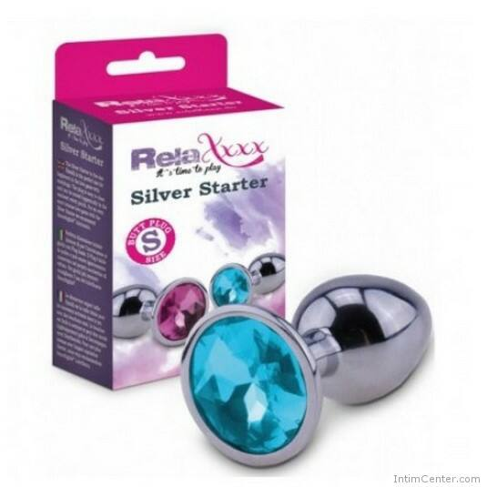 Butt plug S méret, kék ékkővel RelaXxxx Silver Starter Plug (S)